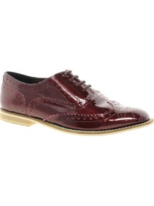 Marky Leather Brogues - predominant colour: burgundy; occasions: casual, work; material: leather; heel height: flat; toe: round toe; style: brogues; finish: plain; pattern: plain