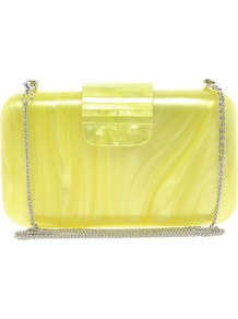 Pearly Box Clutch Bag With Chain Strap - predominant colour: yellow; occasions: evening, occasion; type of pattern: light; style: clutch; length: hand carry; size: small; material: plastic/rubber; pattern: plain; finish: plain; embellishment: chain/metal