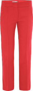 Ombrosa Trousers - pattern: plain; waist: mid/regular rise; predominant colour: true red; occasions: casual, evening, work; length: ankle length; fit: straight leg; pattern type: fabric; texture group: other - light to midweight; style: standard; fibres: viscose/rayon - mix