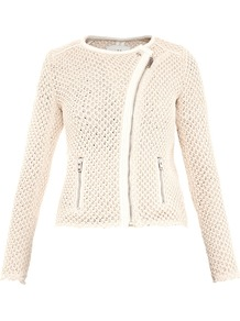 Miali Leather Trim Mesh Knit Jacket - pattern: plain; style: biker; collar: asymmetric biker; fit: slim fit; predominant colour: ivory; occasions: casual, work; length: standard; fibres: cotton - 100%; waist detail: fitted waist; sleeve length: long sleeve; sleeve style: standard; texture group: knits/crochet; collar break: high/illusion of break when open; pattern type: knitted - big stitch; pattern size: standard