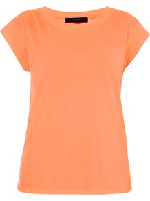 Scoop Neck T Shirt - neckline: round neck; pattern: plain; style: t-shirt; predominant colour: bright orange; occasions: casual, holiday; length: standard; fibres: cotton - 100%; fit: body skimming; sleeve length: short sleeve; sleeve style: standard; texture group: jersey - stretchy/drapey