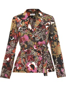 Pistoia Jacket - style: single breasted blazer; fit: slim fit; collar: standard lapel/rever collar; occasions: casual, evening, work; length: standard; fibres: silk - mix; waist detail: belted waist/tie at waist/drawstring; predominant colour: multicoloured; sleeve length: long sleeve; sleeve style: standard; texture group: structured shiny - satin/tafetta/silk etc.; collar break: medium; pattern type: fabric; pattern size: small & busy; pattern: patterned/print