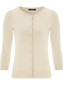 Cotton Rich Cardigan Cream - neckline: round neck; pattern: plain; predominant colour: ivory; occasions: casual, work; length: standard; style: standard; fibres: cotton - mix; fit: standard fit; sleeve length: 3/4 length; sleeve style: standard; texture group: knits/crochet; pattern type: knitted - other; pattern size: standard