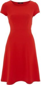 Ribbed Skater Dress Red - length: mid thigh; neckline: round neck; sleeve style: capped; pattern: plain; waist detail: fitted waist; predominant colour: true red; occasions: casual, evening, work, occasion; fit: fitted at waist & bust; style: fit & flare; fibres: polyester/polyamide - stretch; hip detail: soft pleats at hip/draping at hip/flared at hip; sleeve length: short sleeve; pattern type: fabric; pattern size: standard; texture group: jersey - stretchy/drapey