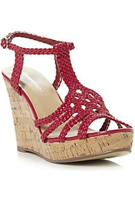 Gustava Plait Strap Design Wedge Heeled Sandal - predominant colour: true red; occasions: casual, evening, holiday; material: faux leather; heel height: high; ankle detail: ankle strap; heel: wedge; toe: open toe/peeptoe; style: strappy; finish: plain; pattern: plain