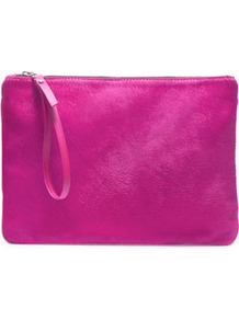 Color Block Clutch Bag - predominant colour: hot pink; occasions: casual, evening, occasion, holiday; style: clutch; length: hand carry; size: standard; material: leather; embellishment: zips; pattern: plain; trends: fluorescent; finish: plain