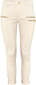 Ankle Lengthtrousers - pattern: plain; style: leggings; waist: mid/regular rise; predominant colour: ivory; occasions: casual, evening, holiday; length: ankle length; fibres: cotton - stretch; hip detail: added detail/embellishment at hip; fit: skinny/tight leg; pattern type: fabric; pattern size: standard; texture group: woven light midweight