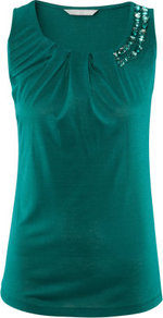 Top - neckline: round neck; pattern: plain; sleeve style: sleeveless; predominant colour: dark green; occasions: casual, evening, work, occasion; length: standard; style: top; fibres: viscose/rayon - 100%; fit: body skimming; shoulder detail: added shoulder detail; sleeve length: sleeveless; bust detail: tiers/frills/bulky drapes/pleats; pattern type: fabric; pattern size: small &amp; light; texture group: jersey - stretchy/drapey; embellishment: jewels