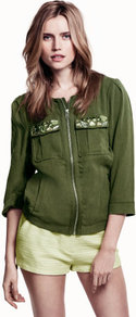 Jacket - pattern: plain; bust detail: added detail/embellishment at bust; collar: round collar/collarless; style: bomber; predominant colour: khaki; occasions: casual; length: standard; fit: straight cut (boxy); fibres: viscose/rayon - 100%; sleeve length: 3/4 length; sleeve style: standard; collar break: high; pattern type: fabric; pattern size: small &amp; light; texture group: woven light midweight; embellishment: jewels