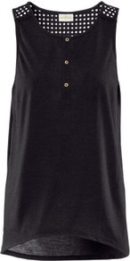 Top - neckline: round neck; pattern: plain; sleeve style: sleeveless; shoulder detail: contrast pattern/fabric at shoulder; bust detail: buttons at bust (in middle at breastbone)/zip detail at bust; predominant colour: black; occasions: casual, holiday; length: standard; style: top; fibres: polyester/polyamide - 100%; fit: loose; back detail: longer hem at back than at front; sleeve length: sleeveless; pattern type: fabric; pattern size: standard; texture group: jersey - stretchy/drapey