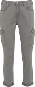 Khaki Cropped Cargo Jeans - style: skinny leg; pattern: plain; pocket detail: pockets at the sides, traditional 5 pocket; waist: mid/regular rise; predominant colour: mid grey; occasions: casual, holiday; length: ankle length; fibres: cotton - stretch; jeans & bottoms detail: turn ups; texture group: denim; pattern type: fabric; pattern size: standard