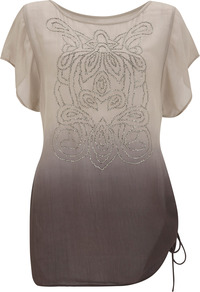Ombre Beaded Tunic - neckline: round neck; sleeve style: angel/waterfall; bust detail: added detail/embellishment at bust; length: below the bottom; style: tunic; predominant colour: chocolate brown; occasions: casual, evening, holiday; fibres: viscose/rayon - 100%; fit: body skimming; hip detail: ruching/gathering at hip; sleeve length: short sleeve; texture group: cotton feel fabrics; pattern type: fabric; pattern size: small & light; pattern: patterned/print; embellishment: beading