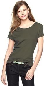 Essential Short Sleeve Crew T - neckline: round neck; pattern: plain; style: t-shirt; predominant colour: khaki; occasions: casual, holiday; length: standard; fibres: cotton - 100%; fit: body skimming; sleeve length: short sleeve; sleeve style: standard; pattern type: fabric; texture group: jersey - stretchy/drapey