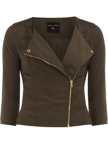 Khaki Gold Trim Poly Biker - pattern: plain; style: biker; collar: asymmetric biker; fit: slim fit; predominant colour: khaki; occasions: casual; length: standard; fibres: polyester/polyamide - 100%; waist detail: fitted waist; sleeve length: 3/4 length; sleeve style: standard; collar break: medium; pattern type: fabric; texture group: other - light to midweight