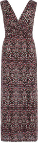 Petite Ikat Print Knot Maxi - neckline: v-neck; sleeve style: sleeveless; style: maxi dress; waist detail: fitted waist; back detail: low cut/open back; predominant colour: chocolate brown; occasions: evening, occasion; length: floor length; fit: body skimming; fibres: viscose/rayon - stretch; sleeve length: sleeveless; trends: statement prints; pattern type: fabric; pattern size: small &amp; busy; pattern: patterned/print; texture group: jersey - stretchy/drapey