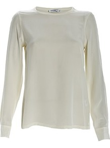 Liam Long Sleeve Tee - neckline: round neck; pattern: plain; style: t-shirt; predominant colour: white; occasions: casual, evening, work, occasion, holiday; length: standard; fibres: silk - 100%; fit: straight cut; sleeve length: long sleeve; sleeve style: standard; texture group: silky - light; pattern type: fabric; pattern size: standard