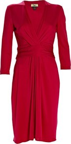 Silk Jersey Short Dress Magenta - style: faux wrap/wrap; length: mid thigh; neckline: low v-neck; fit: fitted at waist; pattern: plain; waist detail: twist front waist detail/nipped in at waist on one side/soft pleats/draping/ruching/gathering waist detail; bust detail: ruching/gathering/draping/layers/pintuck pleats at bust; predominant colour: true red; occasions: casual, evening, occasion; fibres: silk - 100%; hip detail: soft pleats at hip/draping at hip/flared at hip; sleeve length: 3/4 length; sleeve style: standard; pattern type: fabric; pattern size: standard; texture group: jersey - stretchy/drapey