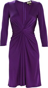 Silk Jersey Short Dress Amethyst - style: shift; neckline: low v-neck; pattern: plain; waist detail: twist front waist detail/nipped in at waist on one side/soft pleats/draping/ruching/gathering waist detail; bust detail: ruching/gathering/draping/layers/pintuck pleats at bust; predominant colour: purple; occasions: evening, occasion; length: just above the knee; fit: fitted at waist &amp; bust; fibres: silk - 100%; hip detail: soft pleats at hip/draping at hip/flared at hip; sleeve length: 3/4 length; sleeve style: standard; texture group: silky - light; pattern type: fabric