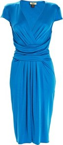 Silk Jersey Short Dress Hydrangea - style: faux wrap/wrap; neckline: low v-neck; sleeve style: capped; pattern: plain; waist detail: wide waistband/cummerbund; bust detail: ruching/gathering/draping/layers/pintuck pleats at bust; predominant colour: royal blue; occasions: casual, evening, work; length: just above the knee; fit: body skimming; fibres: silk - 100%; hip detail: soft pleats at hip/draping at hip/flared at hip; sleeve length: short sleeve; pattern type: fabric; texture group: jersey - stretchy/drapey