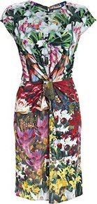 Printed Dress - style: shift; neckline: round neck; sleeve style: capped; fit: tailored/fitted; waist detail: twist front waist detail/nipped in at waist on one side/soft pleats/draping/ruching/gathering waist detail; hip detail: fitted at hip; occasions: casual, work, occasion; length: just above the knee; fibres: viscose/rayon - 100%; predominant colour: multicoloured; sleeve length: short sleeve; trends: high impact florals; pattern type: fabric; pattern size: big &amp; busy; pattern: florals; texture group: jersey - stretchy/drapey