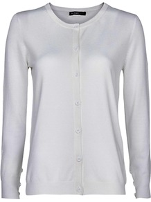 Essential Cardigan - neckline: round neck; pattern: plain; predominant colour: white; occasions: casual, work; length: standard; style: standard; fibres: polyester/polyamide - mix; fit: standard fit; sleeve length: long sleeve; sleeve style: standard; texture group: knits/crochet; pattern type: knitted - other; pattern size: standard