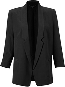 3/4 Length Plain Jacket - pattern: plain; style: single breasted blazer; length: below the bottom; collar: standard lapel/rever collar; predominant colour: black; occasions: casual, evening, work, occasion; fit: straight cut (boxy); fibres: viscose/rayon - 100%; back detail: back vent/flap at back; sleeve length: 3/4 length; sleeve style: standard; texture group: crepes; trends: tuxedo; collar break: high/illusion of break when open; pattern type: fabric; pattern size: standard