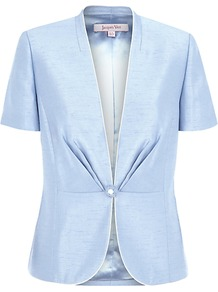 Fitted Jacket, Light Blue - pattern: plain; style: single breasted blazer; collar: standard lapel/rever collar; predominant colour: pale blue; occasions: evening, work, occasion; length: standard; fit: tailored/fitted; waist detail: fitted waist; sleeve length: short sleeve; sleeve style: standard; texture group: structured shiny - satin/tafetta/silk etc.; collar break: low/open; pattern type: fabric; fibres: viscose/rayon - mix