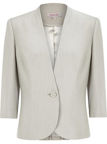 Occasion Jacket, Cream - pattern: plain; style: single breasted blazer; collar: standard lapel/rever collar; predominant colour: ivory; occasions: casual, evening, work, occasion; length: standard; fit: tailored/fitted; fibres: polyester/polyamide - 100%; sleeve length: 3/4 length; sleeve style: standard; texture group: sheer fabrics/chiffon/organza etc.; collar break: low/open; pattern type: fabric; pattern size: standard