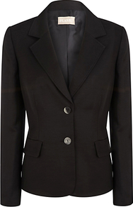 Linen Jacket - pattern: plain; style: single breasted blazer; collar: standard lapel/rever collar; predominant colour: black; occasions: casual, work, occasion; length: standard; fit: tailored/fitted; fibres: linen - mix; sleeve length: long sleeve; sleeve style: standard; texture group: linen; collar break: medium; pattern type: fabric; pattern size: standard