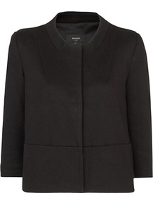 Minimalist Jacket - pattern: plain; style: single breasted blazer; collar: round collar/collarless; predominant colour: black; occasions: casual, evening, work, occasion; length: standard; fit: straight cut (boxy); fibres: cotton - mix; sleeve length: 3/4 length; sleeve style: standard; texture group: cotton feel fabrics; collar break: high; pattern type: fabric; pattern size: standard