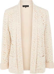 Contrast Lace Jacket, Cream - pattern: plain; style: single breasted blazer; collar: shawl/waterfall; predominant colour: ivory; occasions: evening, work, occasion; length: standard; fit: tailored/fitted; fibres: cotton - mix; sleeve length: long sleeve; sleeve style: standard; texture group: lace; trends: tuxedo; collar break: low/open; pattern type: fabric