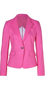 Charming Pink One Button Cotton Blazer - pattern: plain; style: single breasted blazer; collar: standard lapel/rever collar; predominant colour: hot pink; occasions: casual, evening, work, occasion; length: standard; fit: tailored/fitted; fibres: cotton - 100%; waist detail: fitted waist; sleeve length: long sleeve; sleeve style: standard; texture group: cotton feel fabrics; collar break: medium; pattern type: fabric; pattern size: standard