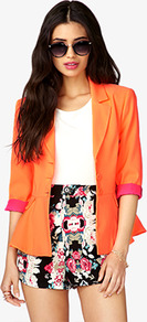 Three Button Peplum Blazer - pattern: plain; style: single breasted blazer; collar: standard lapel/rever collar; predominant colour: bright orange; occasions: casual, evening, work, occasion, holiday; length: standard; fit: tailored/fitted; fibres: polyester/polyamide - stretch; waist detail: peplum detail at waist; sleeve length: 3/4 length; sleeve style: standard; texture group: cotton feel fabrics; trends: fluorescent; collar break: medium; pattern type: fabric; pattern size: small &amp; light