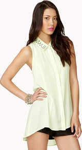 Studded Cutout Chiffon Shirt - neckline: shirt collar/peter pan/zip with opening; pattern: plain; sleeve style: sleeveless; bust detail: added detail/embellishment at bust; length: below the bottom; style: shirt; predominant colour: lime; occasions: casual, evening, holiday; fibres: polyester/polyamide - 100%; fit: loose; back detail: longer hem at back than at front; sleeve length: sleeveless; texture group: sheer fabrics/chiffon/organza etc.; pattern type: fabric; pattern size: small & light; embellishment: studs