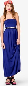 Maxi Tube Dress - neckline: strapless (straight/sweetheart); fit: empire; pattern: plain; style: maxi dress; sleeve style: strapless; length: ankle length; waist detail: belted waist/tie at waist/drawstring; predominant colour: royal blue; occasions: casual, occasion, holiday; fibres: viscose/rayon - stretch; hip detail: soft pleats at hip/draping at hip/flared at hip; sleeve length: sleeveless; pattern type: fabric; pattern size: standard; texture group: jersey - stretchy/drapey