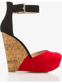 Colorblocked D&#x27;orsay Wedges - predominant colour: true red; occasions: evening, occasion; material: faux leather; heel height: high; embellishment: buckles; ankle detail: ankle strap; heel: wedge; toe: round toe; style: courts; finish: plain; pattern: plain