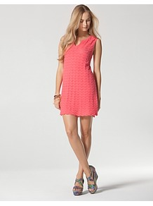 Dress Split Neck - style: shift; length: mini; neckline: v-neck; pattern: plain; sleeve style: sleeveless; predominant colour: coral; occasions: casual, holiday; fit: soft a-line; fibres: linen - mix; sleeve length: sleeveless; texture group: cotton feel fabrics; pattern type: fabric; pattern size: standard