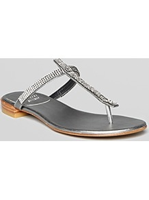 Thong Sandals Vanity Jewel - predominant colour: silver; occasions: casual, evening, holiday; material: faux leather; heel height: flat; embellishment: crystals; heel: standard; toe: toe thongs; style: flip flops / toe post; finish: metallic; pattern: plain