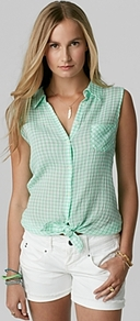 Shirt Mini Gingham Tie Front - neckline: shirt collar/peter pan/zip with opening; sleeve style: sleeveless; pattern: checked/gingham; style: shirt; predominant colour: emerald green; occasions: casual, holiday; length: standard; fibres: cotton - mix; fit: loose; sleeve length: sleeveless; texture group: sheer fabrics/chiffon/organza etc.; pattern type: fabric; pattern size: standard