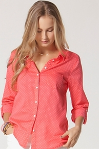 Shirt Polka Dot - neckline: shirt collar/peter pan/zip with opening; style: shirt; pattern: polka dot; predominant colour: pink; occasions: casual, work; length: standard; fibres: cotton - 100%; fit: straight cut; sleeve length: long sleeve; sleeve style: standard; texture group: cotton feel fabrics; pattern type: fabric; pattern size: small & light