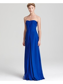 Strapless Dress Sweetheart Ruffle Front - style: ballgown; pattern: plain; sleeve style: strapless; neckline: sweetheart; bust detail: ruching/gathering/draping/layers/pintuck pleats at bust; predominant colour: royal blue; occasions: evening, occasion; length: floor length; fit: body skimming; fibres: polyester/polyamide - 100%; hip detail: soft pleats at hip/draping at hip/flared at hip; waist detail: ruffles at waist; sleeve length: sleeveless; texture group: sheer fabrics/chiffon/organza etc.; pattern type: fabric; pattern size: standard