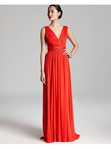 Gown Sleeveless V Neck Belted - style: ballgown; neckline: v-neck; fit: fitted at waist; sleeve style: sleeveless; waist detail: embellishment at waist/feature waistband; back detail: low cut/open back; bust detail: ruching/gathering/draping/layers/pintuck pleats at bust; predominant colour: bright orange; occasions: evening, occasion; length: floor length; fibres: silk - 100%; hip detail: soft pleats at hip/draping at hip/flared at hip; shoulder detail: flat/draping pleats/ruching/gathering at shoulder; sleeve length: sleeveless; texture group: sheer fabrics/chiffon/organza etc.; pattern type: fabric; pattern size: standard; embellishment: beading