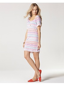 Dress Striped - style: t-shirt; length: mid thigh; pattern: horizontal stripes; occasions: casual, holiday; fit: body skimming; neckline: scoop; fibres: viscose/rayon - 100%; predominant colour: multicoloured; sleeve length: short sleeve; sleeve style: standard; pattern type: fabric; pattern size: standard; texture group: jersey - stretchy/drapey