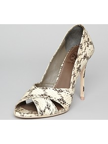 Pumps Amira High Heel - predominant colour: ivory; occasions: evening, work, occasion, holiday; material: leather; heel height: high; heel: stiletto; toe: open toe/peeptoe; style: courts; finish: plain; pattern: animal print