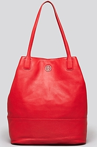 Tote Michelle - predominant colour: true red; occasions: casual, work, holiday; style: tote; length: handle; size: oversized; material: leather; pattern: plain; finish: plain