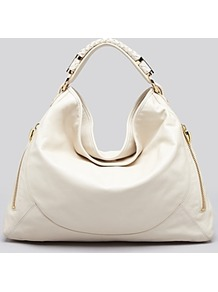 Hobo Joni Calfskin - predominant colour: ivory; occasions: casual, work, holiday; type of pattern: light; style: shoulder; length: shoulder (tucks under arm); size: standard; material: leather; embellishment: zips; pattern: plain; finish: plain