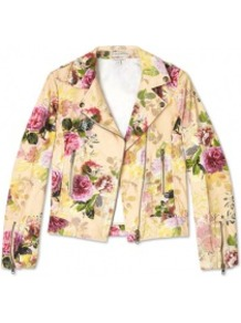 Ponpan Floral Biker Jacket - style: biker; collar: asymmetric biker; predominant colour: primrose yellow; occasions: casual, evening, holiday; length: standard; fit: tailored/fitted; fibres: cotton - 100%; sleeve length: long sleeve; sleeve style: standard; trends: high impact florals; collar break: high/illusion of break when open; pattern type: fabric; pattern size: small & busy; pattern: florals; texture group: woven light midweight
