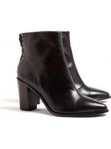 Gloved Studded And Zip Back Pointy Boots - predominant colour: black; occasions: casual, work; material: leather; heel height: mid; embellishment: studs; heel: block; toe: pointed toe; boot length: ankle boot; style: standard; finish: plain; pattern: plain