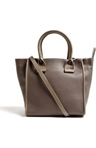 Taupe April Leather Zipped Tote - predominant colour: taupe; occasions: casual, work, holiday; style: tote; length: handle; size: standard; material: leather; pattern: plain; finish: plain