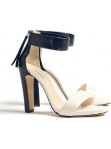 Navy And Ivory Elizabetta Sandals - occasions: casual, evening, work, occasion; material: leather; heel height: high; embellishment: zips; ankle detail: ankle strap; heel: platform; toe: open toe/peeptoe; style: standard; predominant colour: monochrome; finish: plain; pattern: colourblock